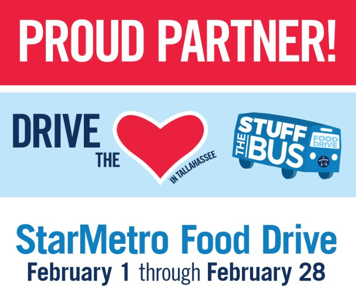FSU Credit Union is proud to be a donation location for StarMetro's Stuff the Bus.