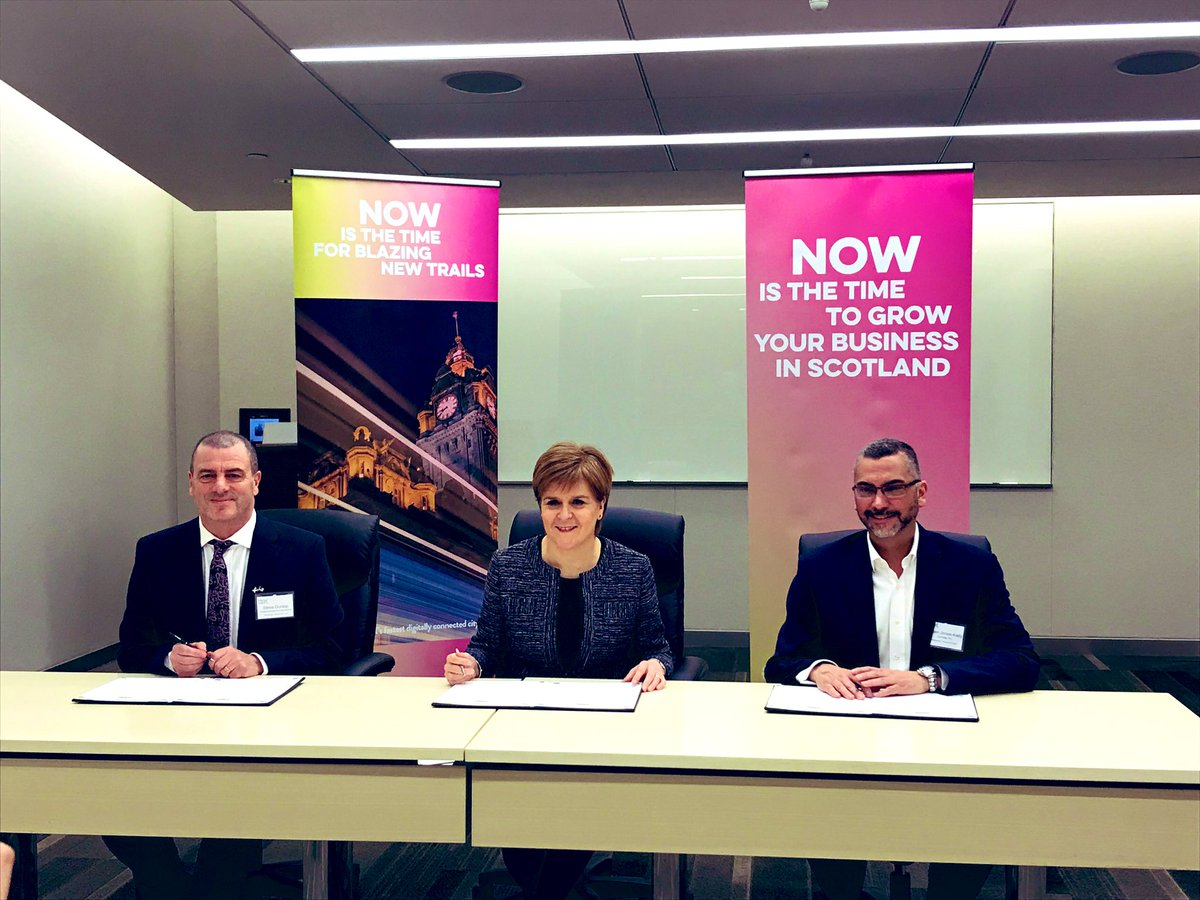 . @NicolaSturgeon has signed an agreement to confirm Scotland will host the 2022 World Forum on FDI - the foremost global event for cross-border investment. Scotland firmly on the world stage as a place to do business 🌎🏴 #ScotlandIsNow