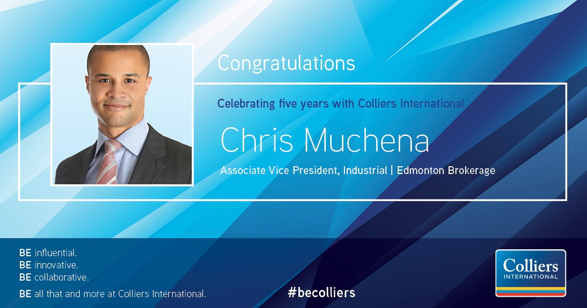 Congratulations to Chris Muchena on your 5 year milestone at @collierscanada. Thank you for your great contribution to the @colliersYEG team over the years! #CRE #Industrial #commercialrealestate