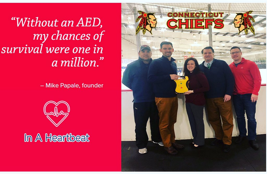 (http://inaheartbeat.org/resources ) Feb. 6, 2019—The CT Chiefs Hockey Organization became the 2nd recipient of a Defibtech Automated External Defibrillator (AED) during American Heart Month through the generosity of Mike Papale and In Heartbeat Inc. #AED #defibtech #HCM #americanheartmonth