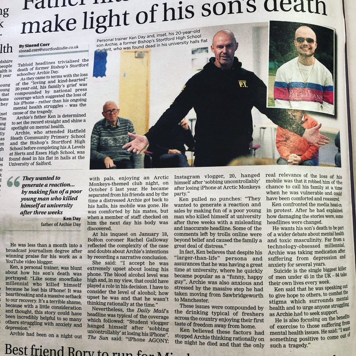 Thank you to the Bishops Stortford Independent for helping us set the record straight. .  #suicideprevention #suicideawareness #suicide #mentalhealth #mentalhealthawareness #friendsofarchie https://t.co/O6Vxv40j9u