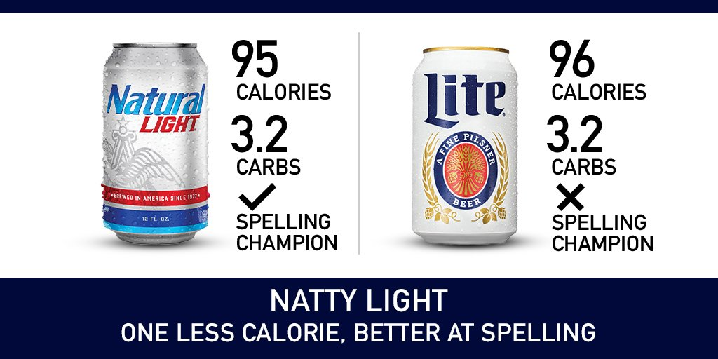 "One less calorie. One way to spell ""Light"""
