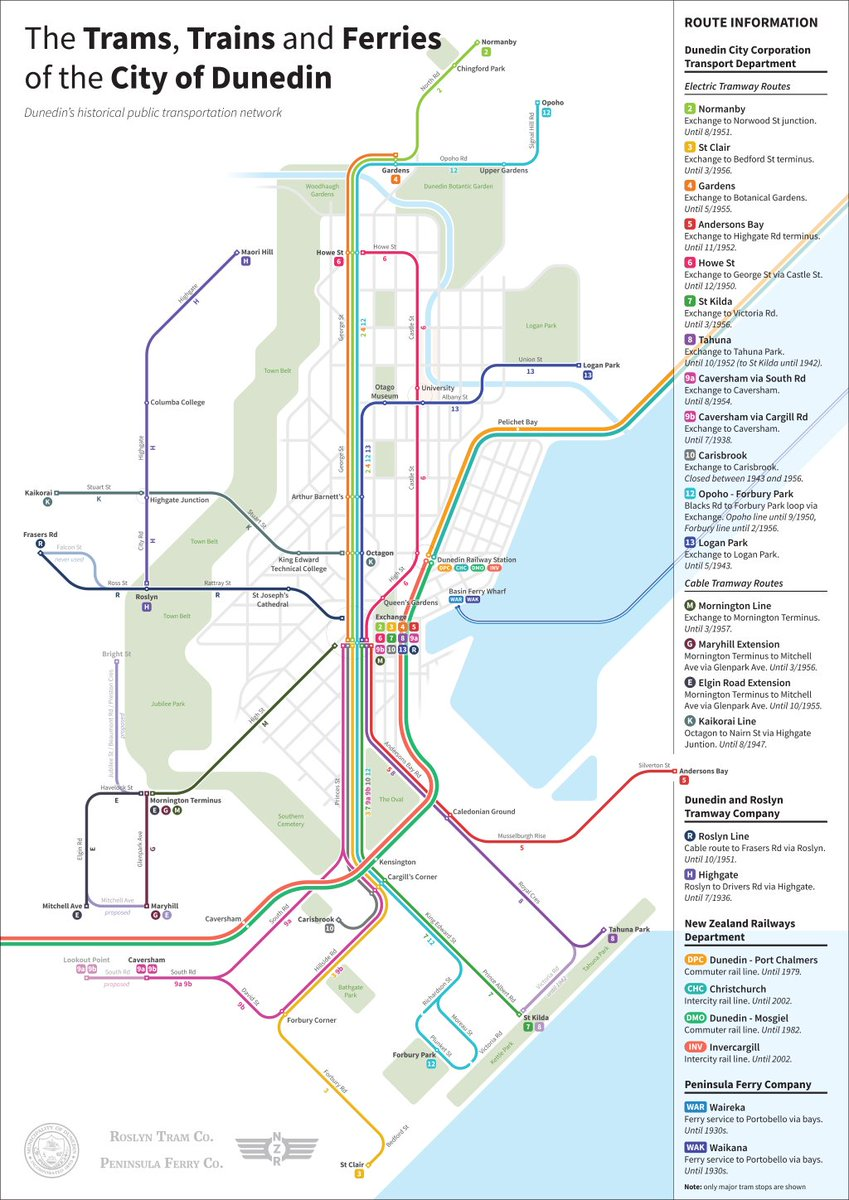 Dunedin Map New Zealand.Transit Maps On Twitter Submission Historical Transit Of Dunedin