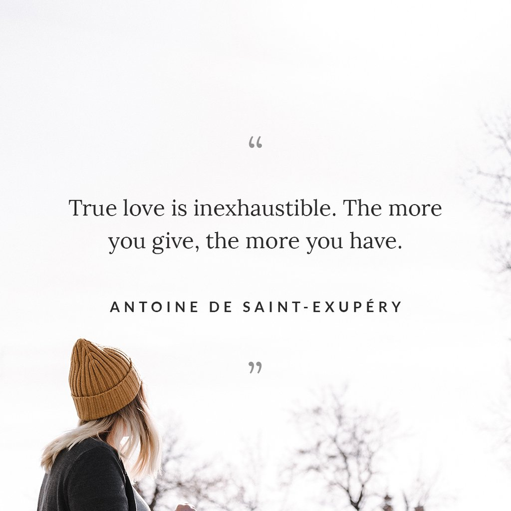 """""""True love is inexhaustible. The more you give, the more you have.""""  #LifeQuotes #CaringQuotes <br>http://pic.twitter.com/mjI2EjN3JW"""