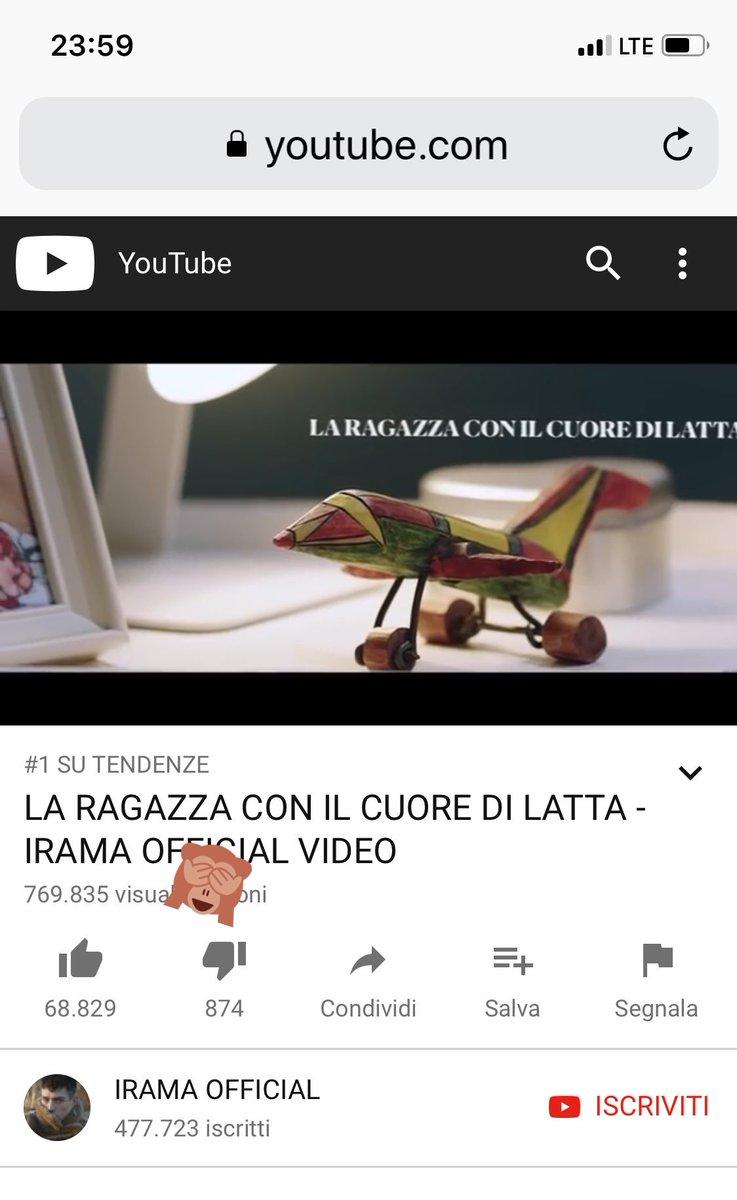 """Primi in tendenza in Italia! Grazie a tutti... Il video de """"La ragazza con il cuore di latta"""" racconta la storia di Linda🌹 https://youtu.be/ov3pyu9hWio"""