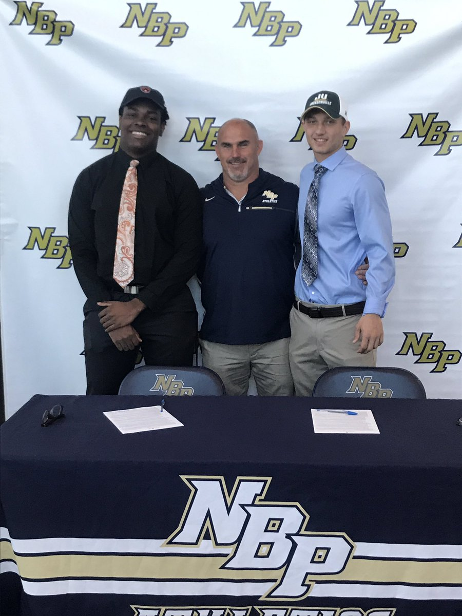 Great morning at NBP today as we celebrated football student-athletes Kurt Bernard (Princeton) and Hunter Guinta (Jacksonville) who signed their letters of intent! Going to miss these two young men - but very excited for what their futures hold! #EaglePride @NBPSEagles