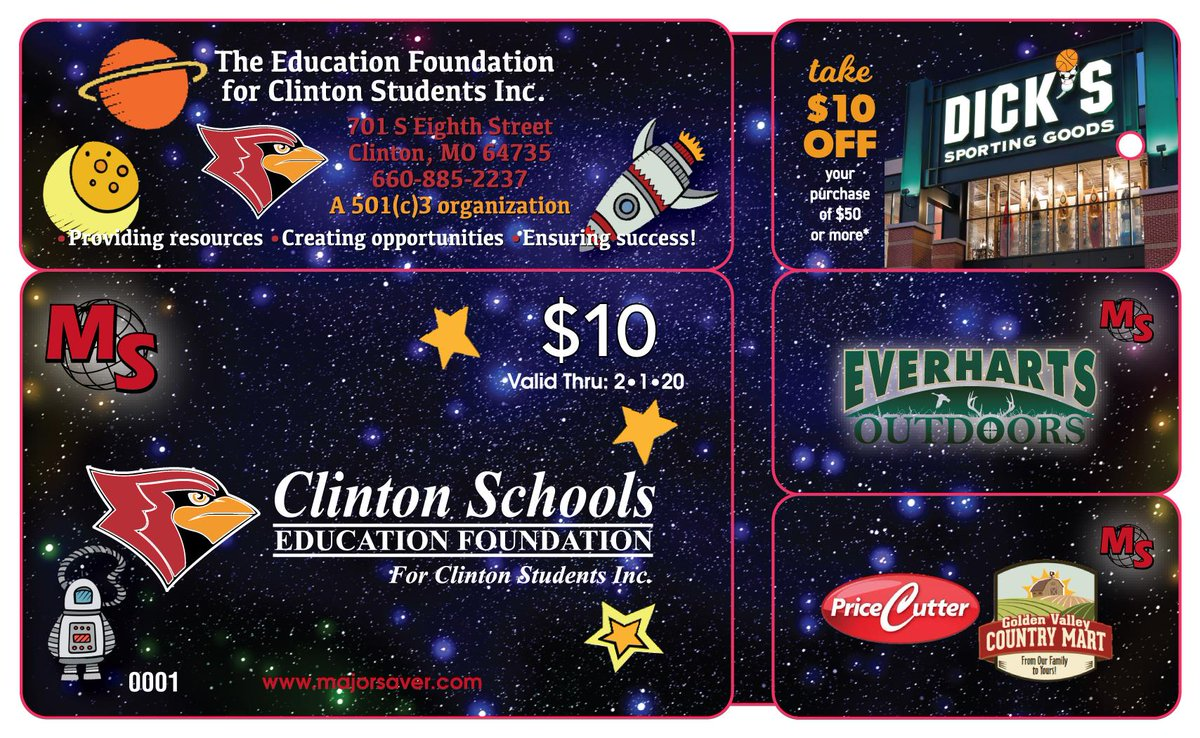 Do you like to save money? Want to support the Clinton School District in the process? Purchase a Major Saver Card from @HenryElementary & @CIScards345 students or online by 2/12. https://www.majorsaver.com/cards/?fbclid=IwAR3ch5Rsj8MDjFNku9ojcixCkz51uCL1ldADeF4Qm8iS0VbKzkJj7TB6mcY … @CMSCardinals @CHSCards @ClintonTechSch
