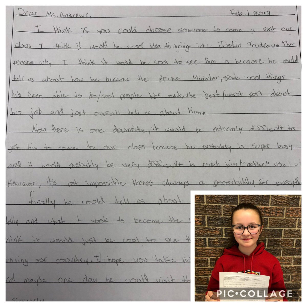 """Hey @JustinTrudeau please meet Ava who wonders if you are too busy to """"notice"""" us at our amazing school @StMartinOCSB. She wrote a great letter detailing a famous person she would like to visit her class and she hopes it's you! #PMO #Studentvoice"""