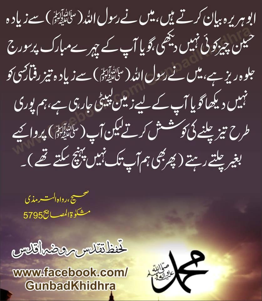 ابوہریرہ ؓ بیان کرتے ہیں ، میں نے رسول اللہ ﷺسے زیادہ حسین چیز کوئی نہیں دیکھی ، گویا آپ کے چہرے مبارک پر سورج جلوہ ریز ہے ، میں نے رسول اللہ ﷺ سے زیادہ ۔۔۔۔۔۔۔  #Hadith #defendlastprophet #ProphetMuhammad #prophetofpeaceمحمدﷺ #Beuaty #Love #Generosity https://www.facebook.com/GunbadKhidhra/photos/a.133964407037066/623277914772377/?type=3&theater…