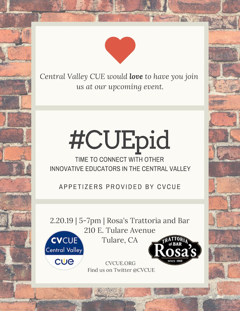 Hey #CVCUE members! Join us on our next road trip adventure at Rosa's in Tulare on 2/20 from 5-7 pm.