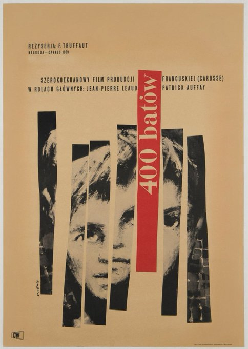 Waldemar Swierzy, poster for The 400 Blows, 1960. Happy birthday, François Truffaut!