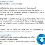 Image for the Tweet beginning: TOSC is listed on CoinMarketCap. »