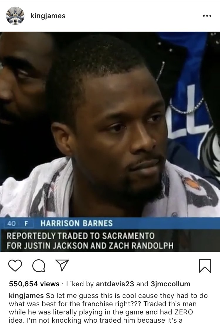 Anthony Davis liked LeBron's post commenting on Harrison Barnes being traded mid-game �� https://t.co/55DPx99a14