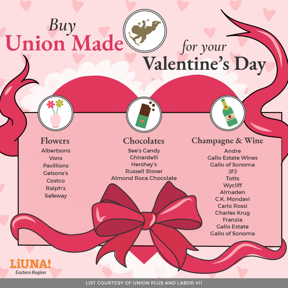 Go the extra mile for your sweetheart this #ValentinesDay and make their #ValentinesDayGift #UnionMade - because the only thing more #romantic than roses and chocolate is #solidarity.   Thanks, as always, to @UnionPlus & @Labor411 for the lists.  #LIUNA #UnionStrong #BuyUnion #1u
