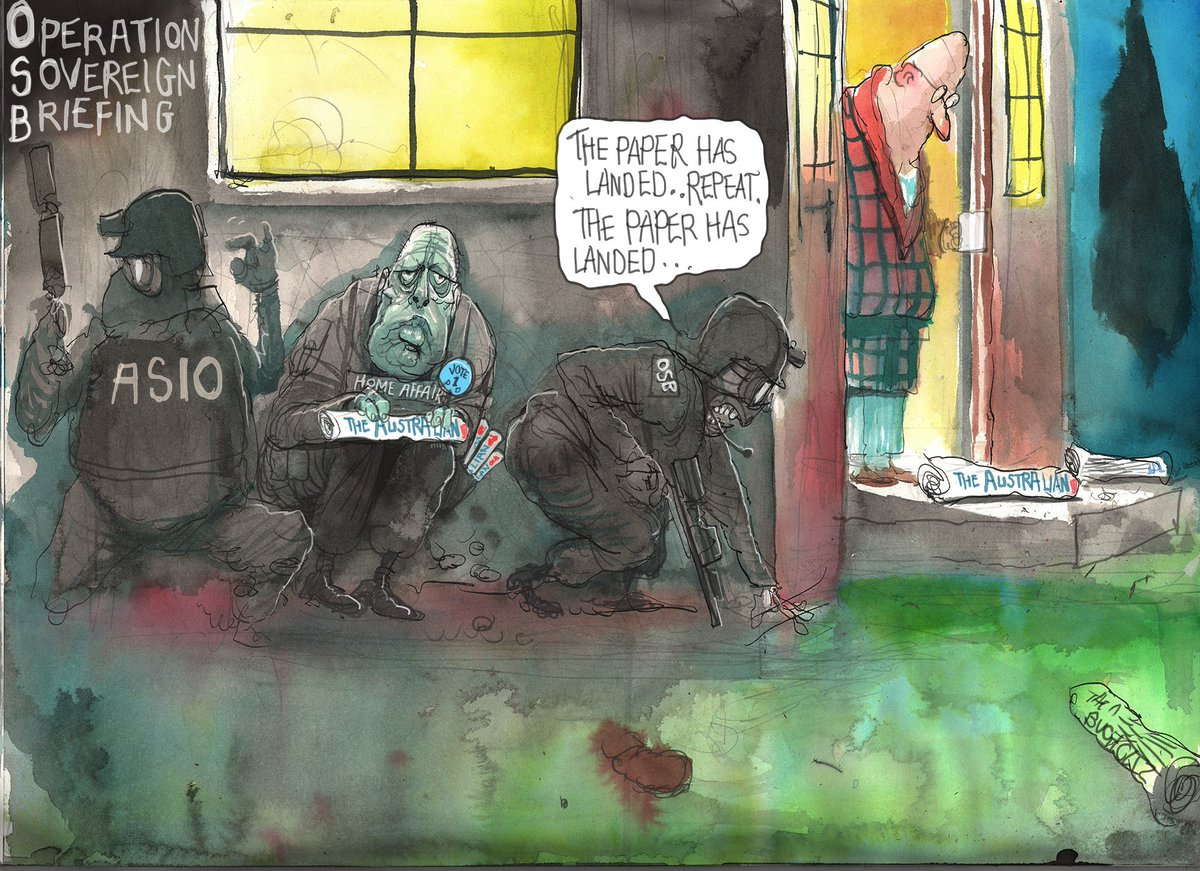 'The paper has landed. Repeat... the paper has landed'. @roweafr's latest cartoon. For more: https://t.co/vCIdUM1Lbb #Dutton  #ASIO