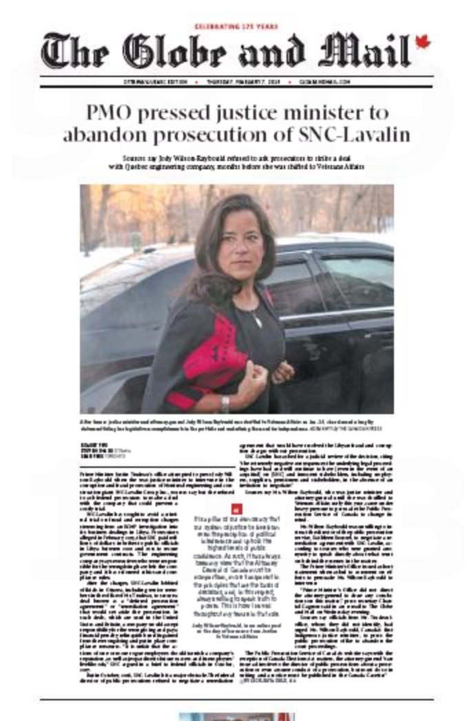 """Wow. """"Trudeau's office attempted to press Wilson-Raybould when she was justice minister to intervene in the corruption and fraud prosecution of SNC-Lavalin, sources say, but she refused to ask federal prosecutors to make a deal with the company"""" #CDNPOLI #BCPOLI"""