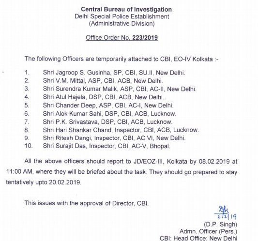 Team of 10 #CBI officers formed for questioning of Kolkata Police Commissioner #RajeevKumar Kumar. #CBIvsMamata #CBIvsKolkataPolice<br>http://pic.twitter.com/amPvEdMZCX