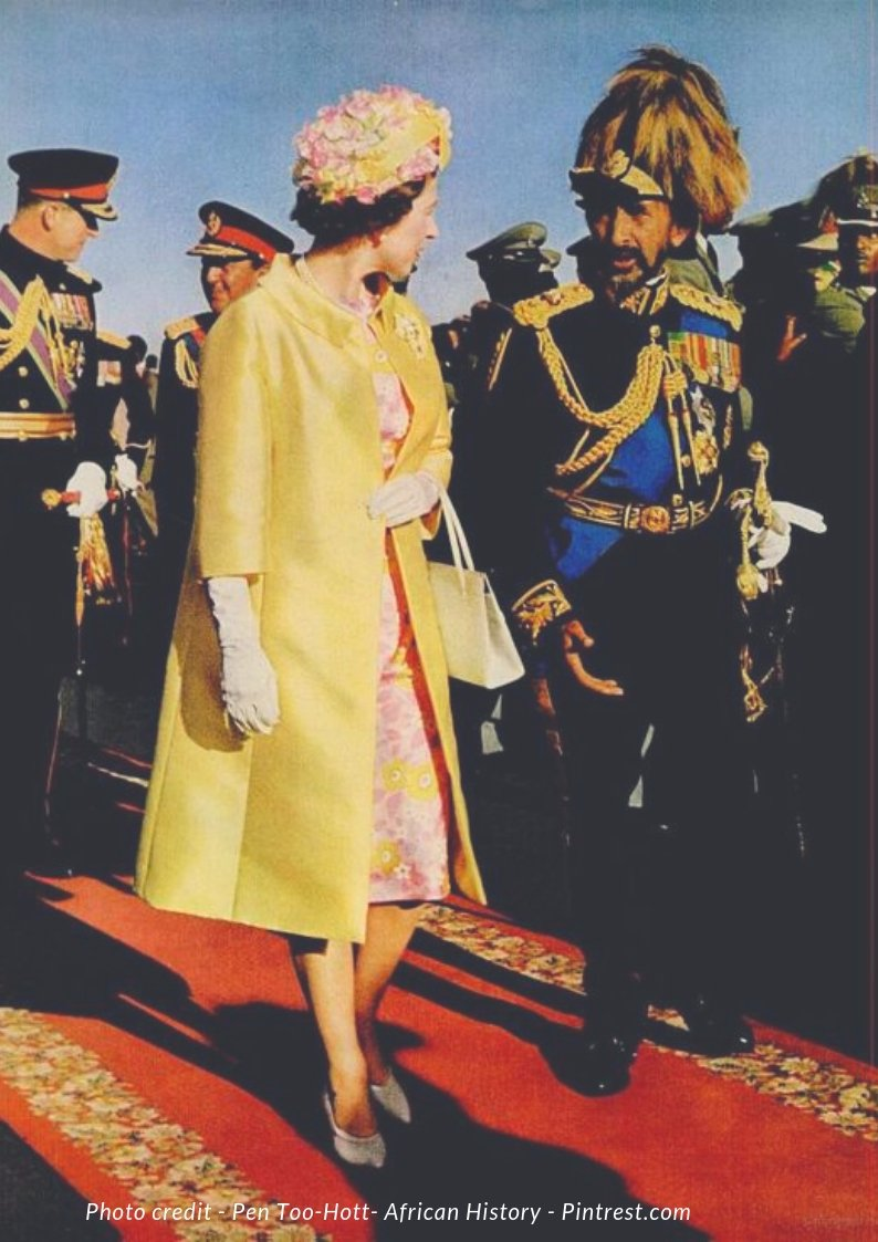 Queen Elizabeth walking on a red carpet in Addis Ababa with the Conquering Lion of Judah, Emperor Haile Selassie. They are followed by Prince Phillip and Selassie's Lion Crown Prince Asfa Wassan. She was the first British Monarch to visit Ethiopia. #ThrowbackThursday