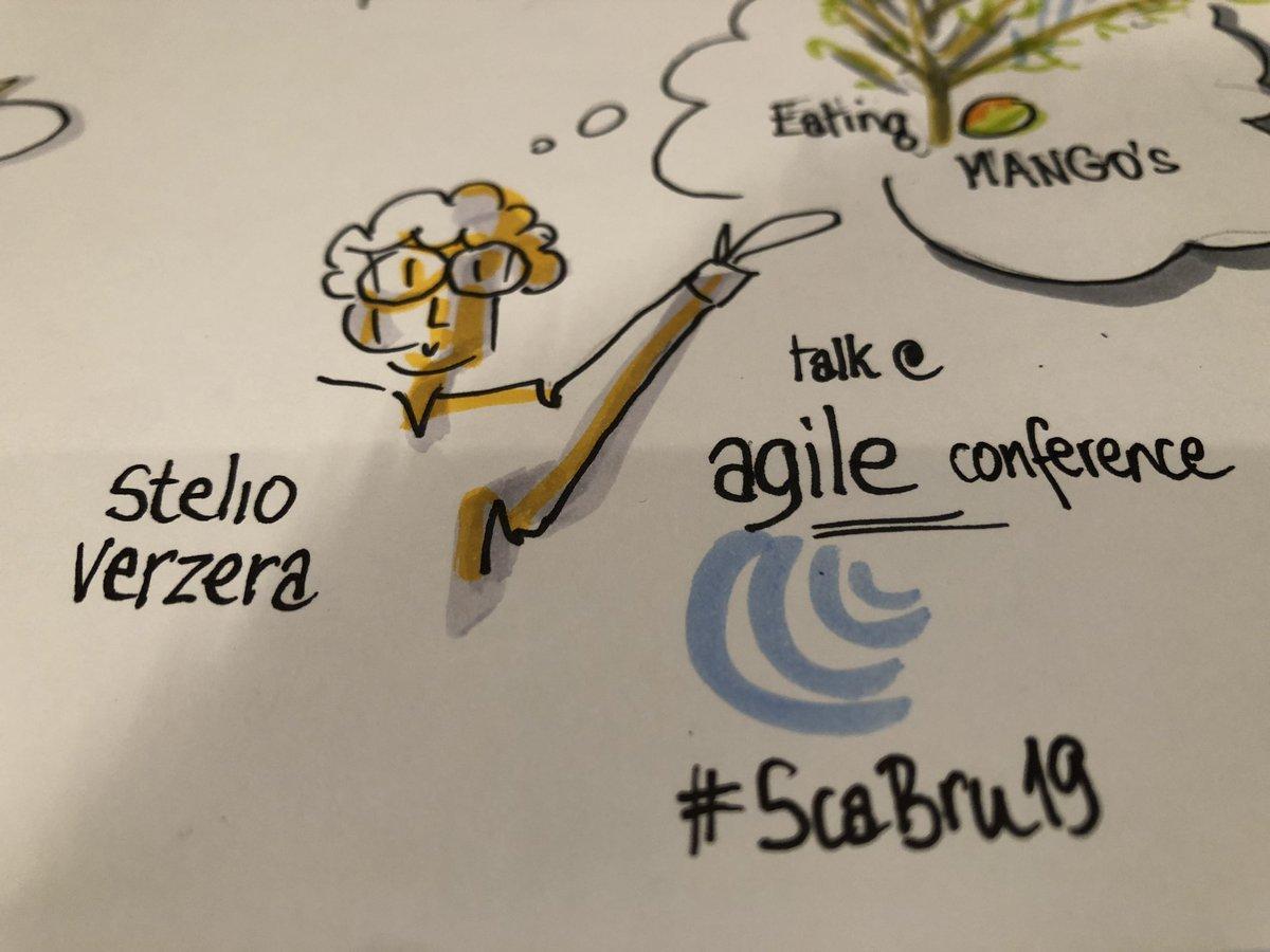 """The unbearable lightness of listening""- keynote speaker Stelio Verzera opens the 2019 Agile Conference in Brussels #ScaBru19 #bizzuals #inspiredifferently"
