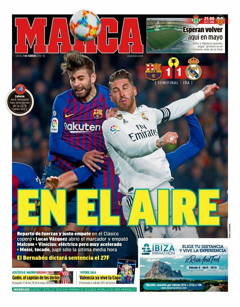 «En el aire». Así titula el diario @MARCA su portada de hoy. Injusto empate en el #CampNou. El @realmadrid fue mejor en la primera parte, pero perdonó demasiado y acabó pagándolo con el gol de Malcom. Todo abierto para el duelo de vuelta en el #EstadioSantiagoBernabéu. #RMCopa