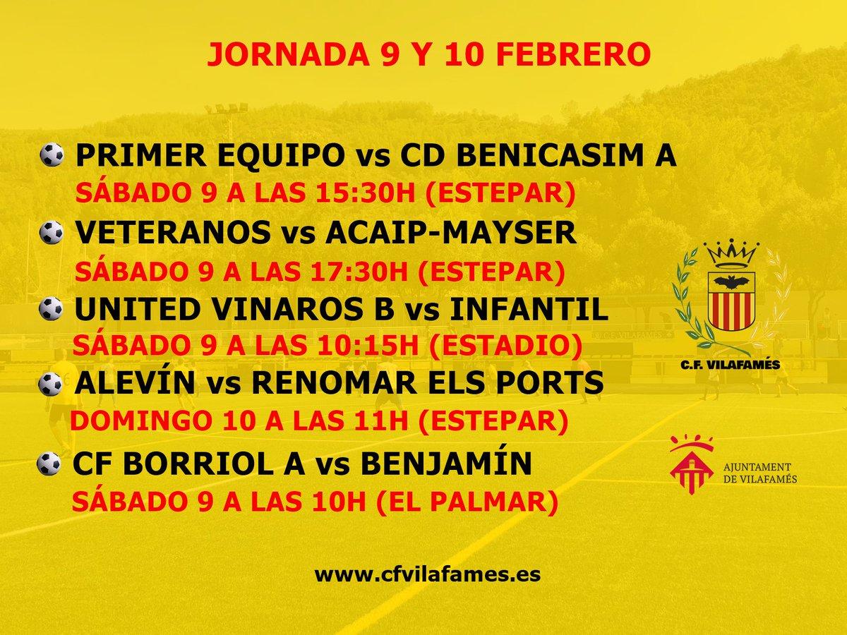 ¿Con ganas de disfrutar del fútbol?  Agenda del CF Vilafamés para el fin de semana 9 y 10 de febrero.  #amuntvilafamés #cfvilafamés #ligacfv
