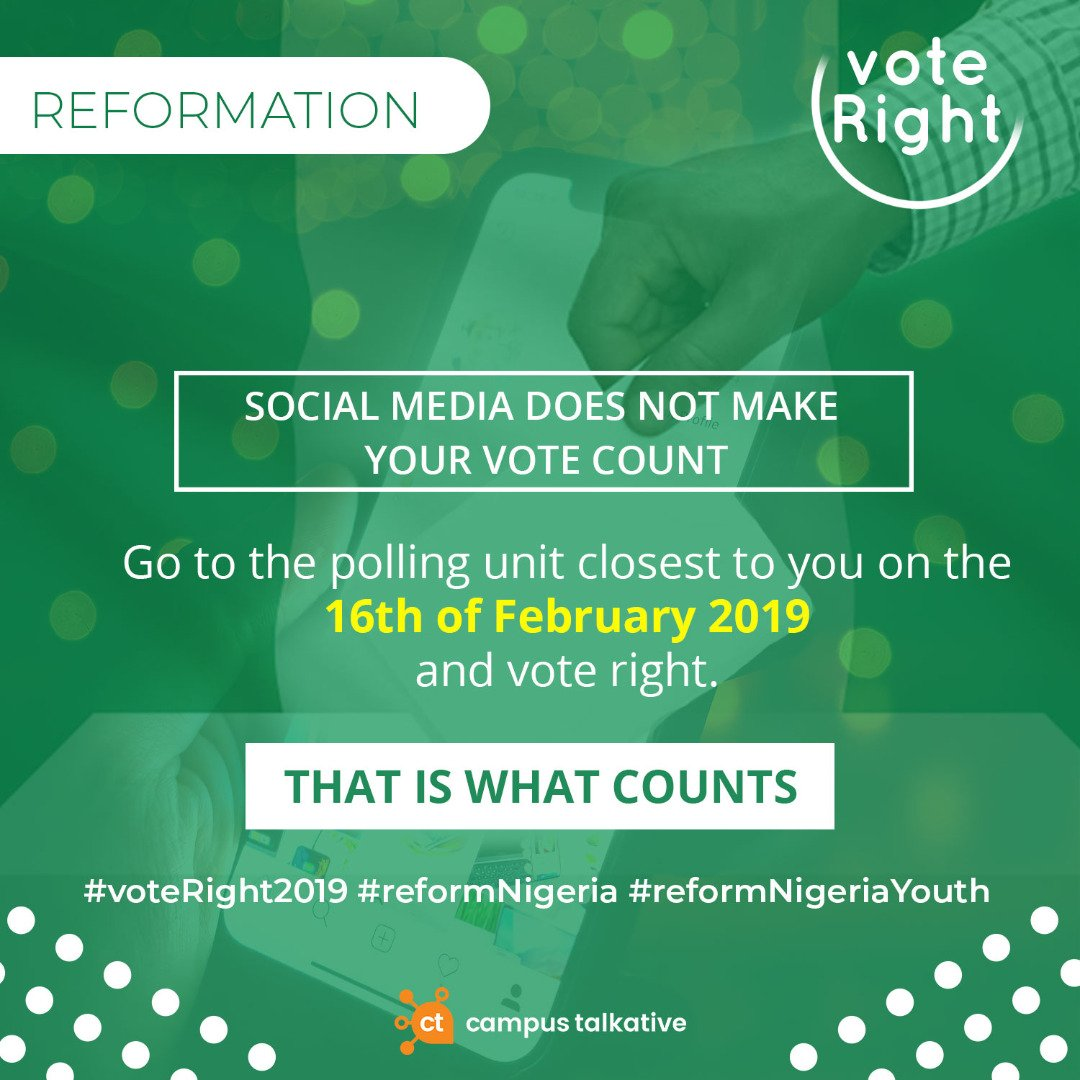 Come Out and Vote  #voteRight2019 #reformNigeria #reformNigeriaYouth @campustalkative #NigeriaDecides2019  #NigeriaDecides <br>http://pic.twitter.com/sfsoNe5Wag