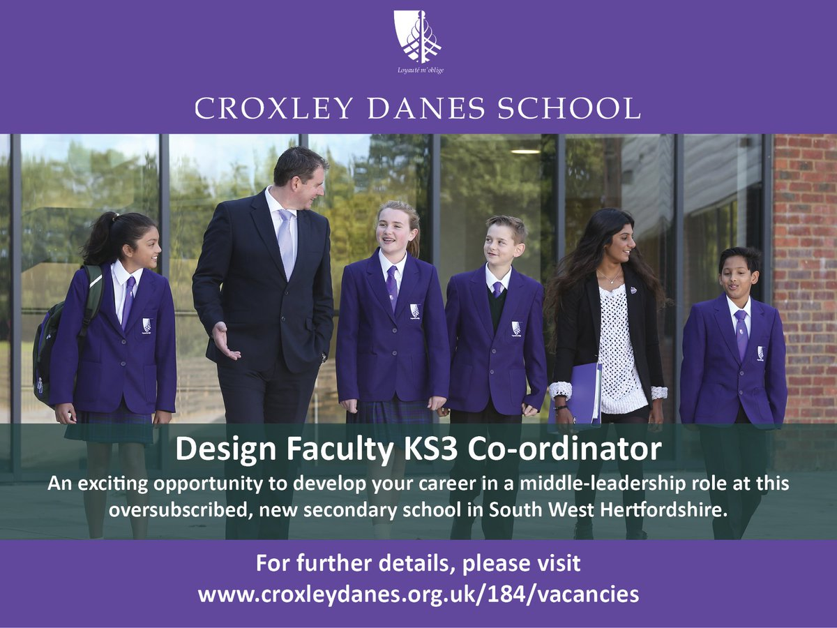 ICYMI: Fantastic opportunity to join the school as a Design Faculty KS3 Co-ordinator from September 2019. Closing date: 27 February. Details: https://t.co/Q8QWyrBM7z https://t.co/U7rKjAYqyz