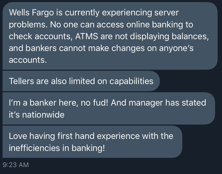 Wells Fargo's system is shut down right now.  Bitcoin never shuts down. https://t.co/bJss6667MC