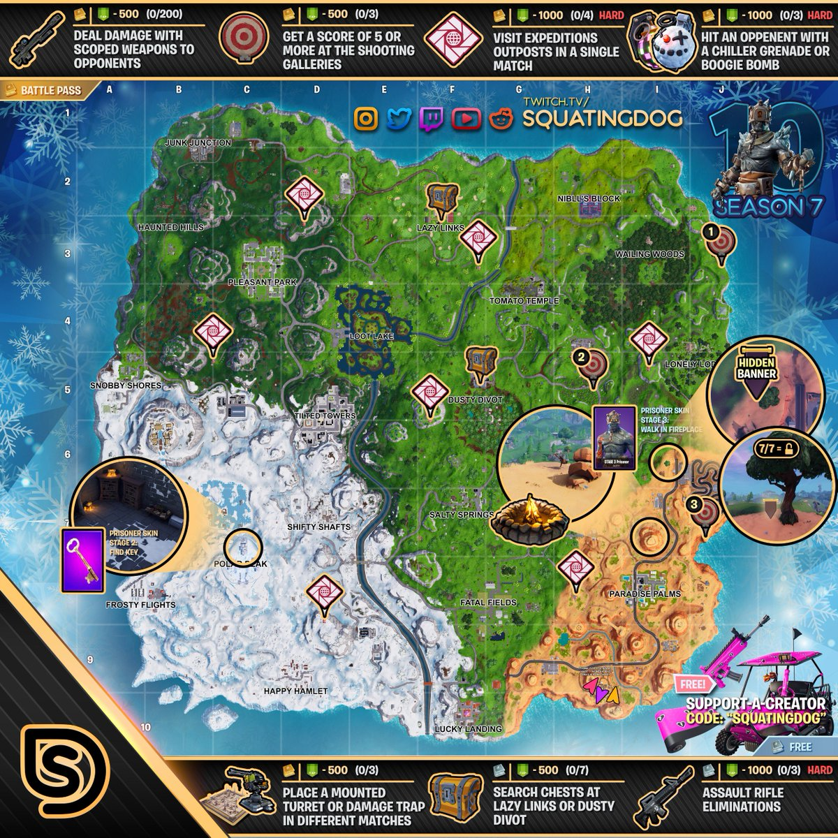 Squatingdog On Twitter Retweet Tag A Friend Who Needs The Season 7 Week 10 Cheat Sheet For Fortnite Battle Royale S Battlepass By Thesquatingdog If You Like This Content Use Squatingdog As Your Support