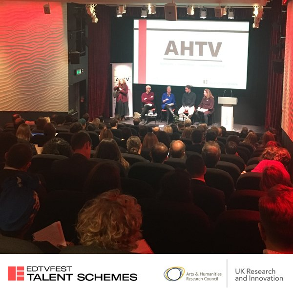 """""""there's a real desire to see academics on tv as character studies"""" Simon Willgoss @Nutopia_tv  joins a panel w/ Bill Locke @LionTelevision & Kate Beetham @PlimsollProds as they discuss the role academics do and can play in successful TV projects. #AHTV2019 @ahrcpress"""