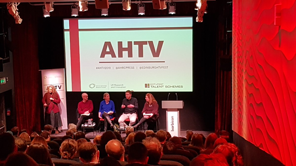 """""""the appetite for history and the arts on different platforms is growing"""" promising news from the panel discussing developing arts and humanities programmes #AHTV2019 @ahrcpress @EdinburghTVFest"""
