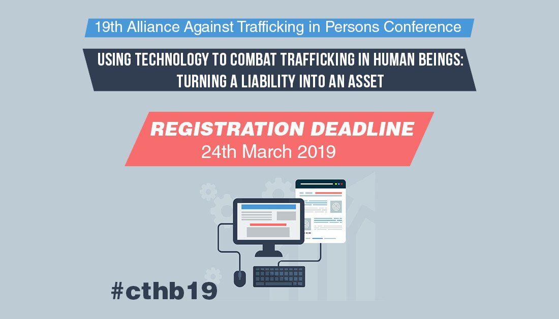 How can #technology be applied to help combat #HumanTrafficking ?   The 19th Alliance against Trafficking in Persons Conference will takes place on 8-9 April in #Vienna  Learn more & Register 👉http://bit.ly/AllianceCTHB19  #cthb19 #OSCE