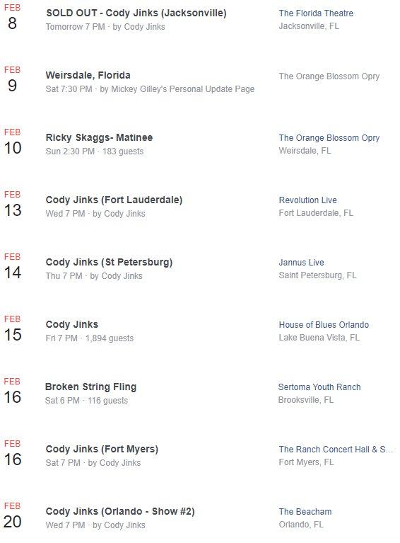 The @CodyJinksMusic @GettinSweenered Florida Tour starts tomorrow! 🤠🎻🎶🎸🤠