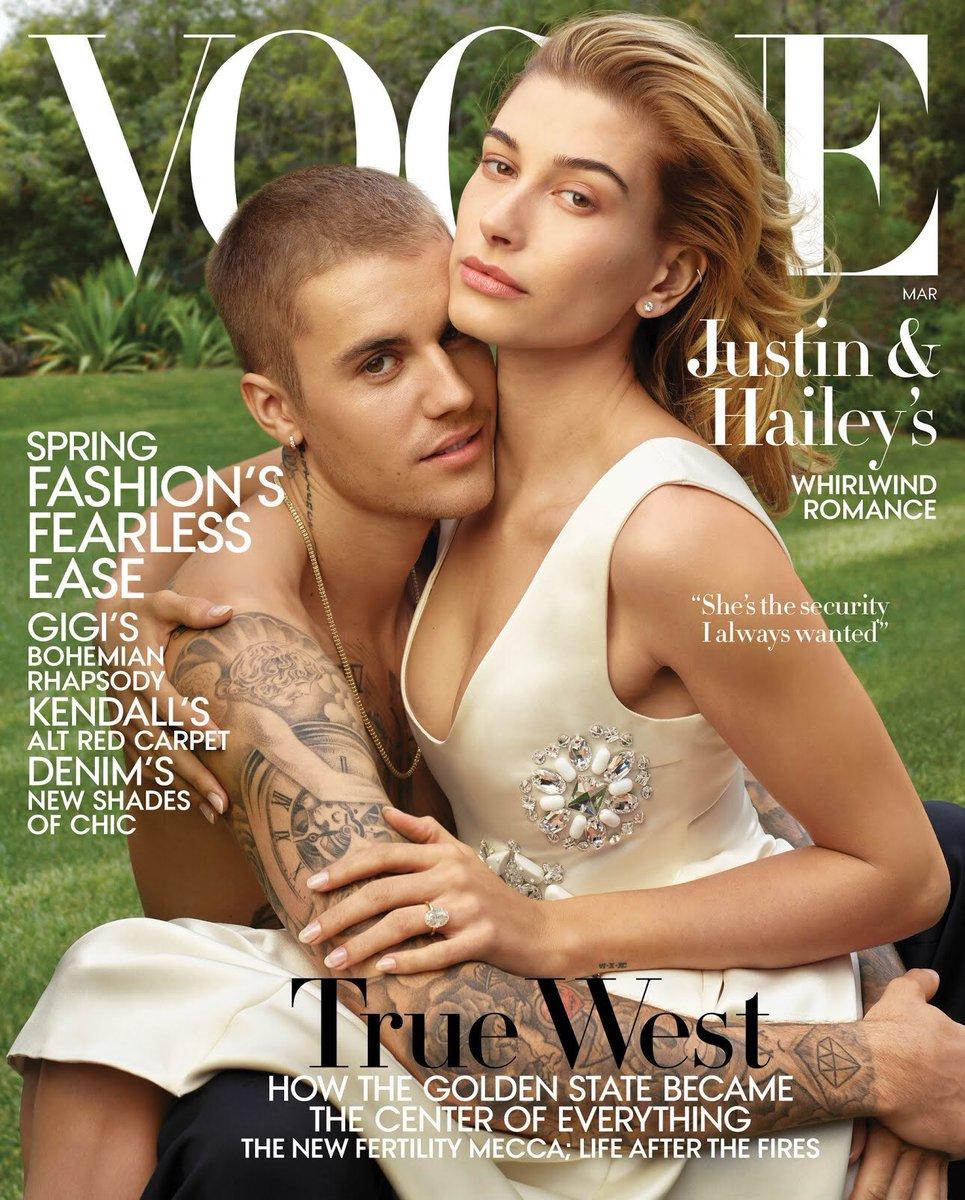 Casal do ano! Hailey e Justin Bieber estão na capa de março da Vogue americana
