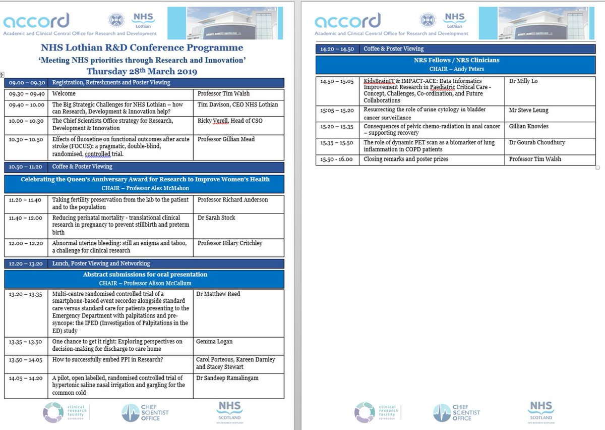 Provisional Programme now available! NHS Lothian R&D Conference, 28 March 2019. Follow the event on twitter using #ACCORDConf19 or @EdinburghACCORD