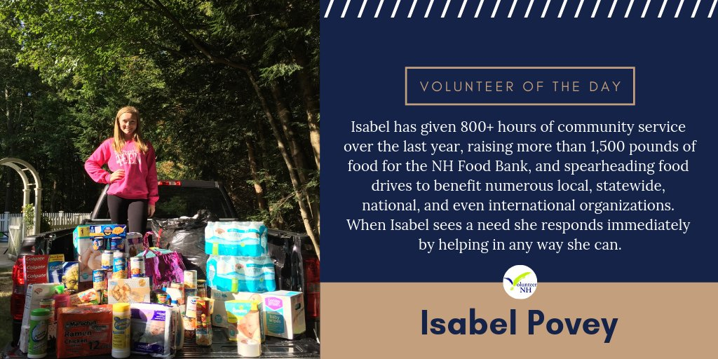 Isabel Povey is our Volunteer of the Day!  #GetConnected with a local volunteer opportunity: https://t.co/A1ejPipIBE  #volunteeroftheday #volunteerallyear #volunteer #makeadifference #impact @NHFB  Volunteer recognition made possible in large part by @BellwetherCCU https://t.co/b6zyhCABU2