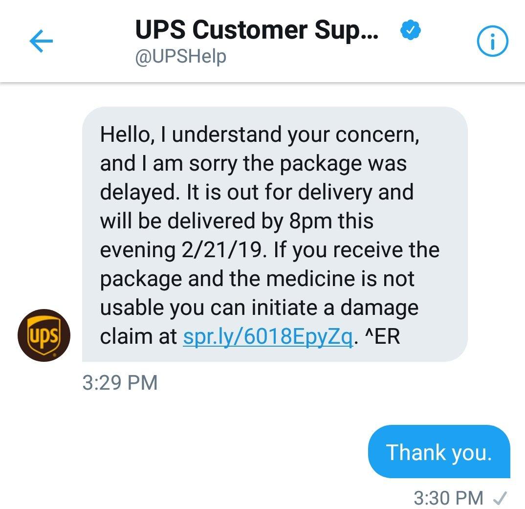 UPS Customer Support on Twitter: