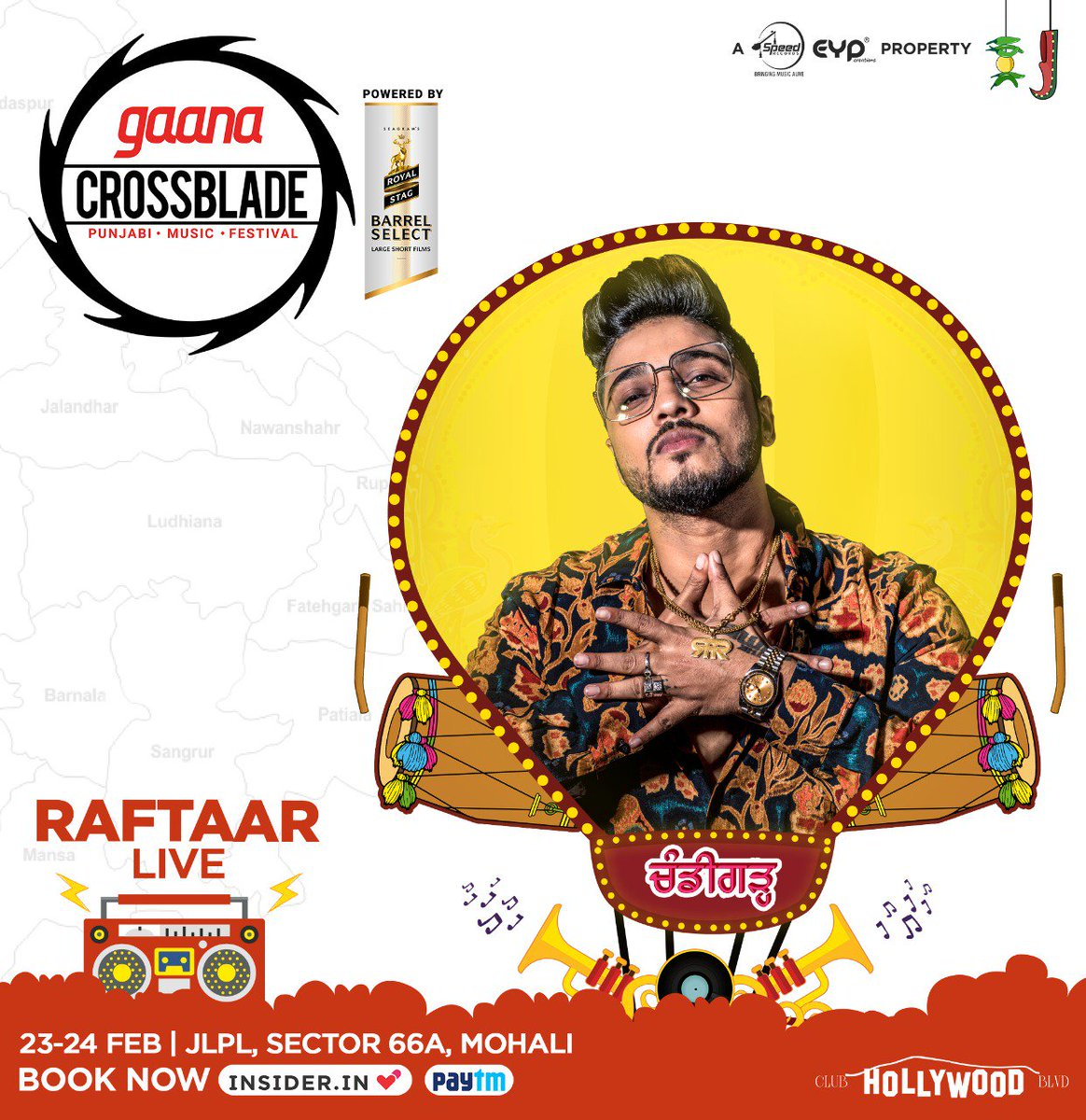 Book karo tickets puri 'Raftaar' se! Now don't give a second thought and book your tickets to @Crossbladelive, India's biggest Punjabi Music Festival! See you'll tomorrow at Mohali. @raftaarmusic @eypcreations @Speed_Records