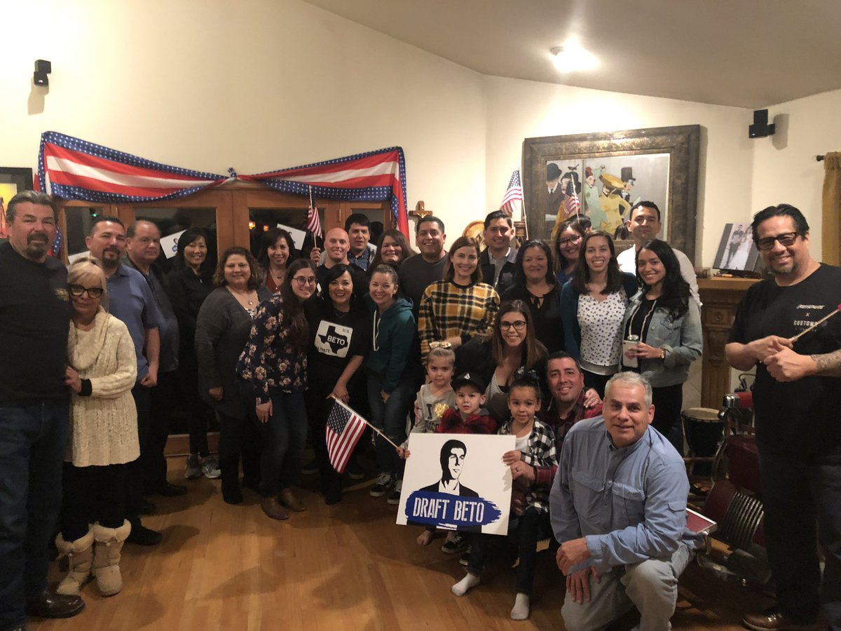 Inspired by our #DraftBeto house party host Caesar Arias. Caesar is a gulf war veteran and police officer who supports @BetoORourke because he'll bring the country together. Thank you to all the people who came out in Whittier tonight! <br>http://pic.twitter.com/tUZ1ZlCRrB