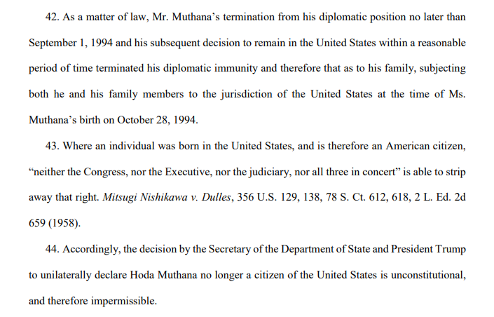 Politico has the details on Hoda Muthana's father's lawsuit on her behalf seeking her return to the U.S. https://www.politico.com/story/2019/02/21/isis-bride-trump-lawsuit-1179752…  Lawgeeks, the complaint is linked at the article.  This is the meat of the argument: