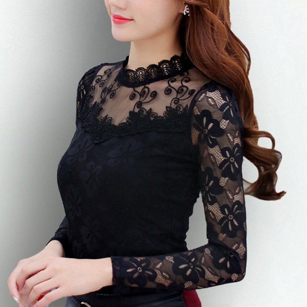#makeup #bestoftheday Women's Lace Long Sleeve Blouses