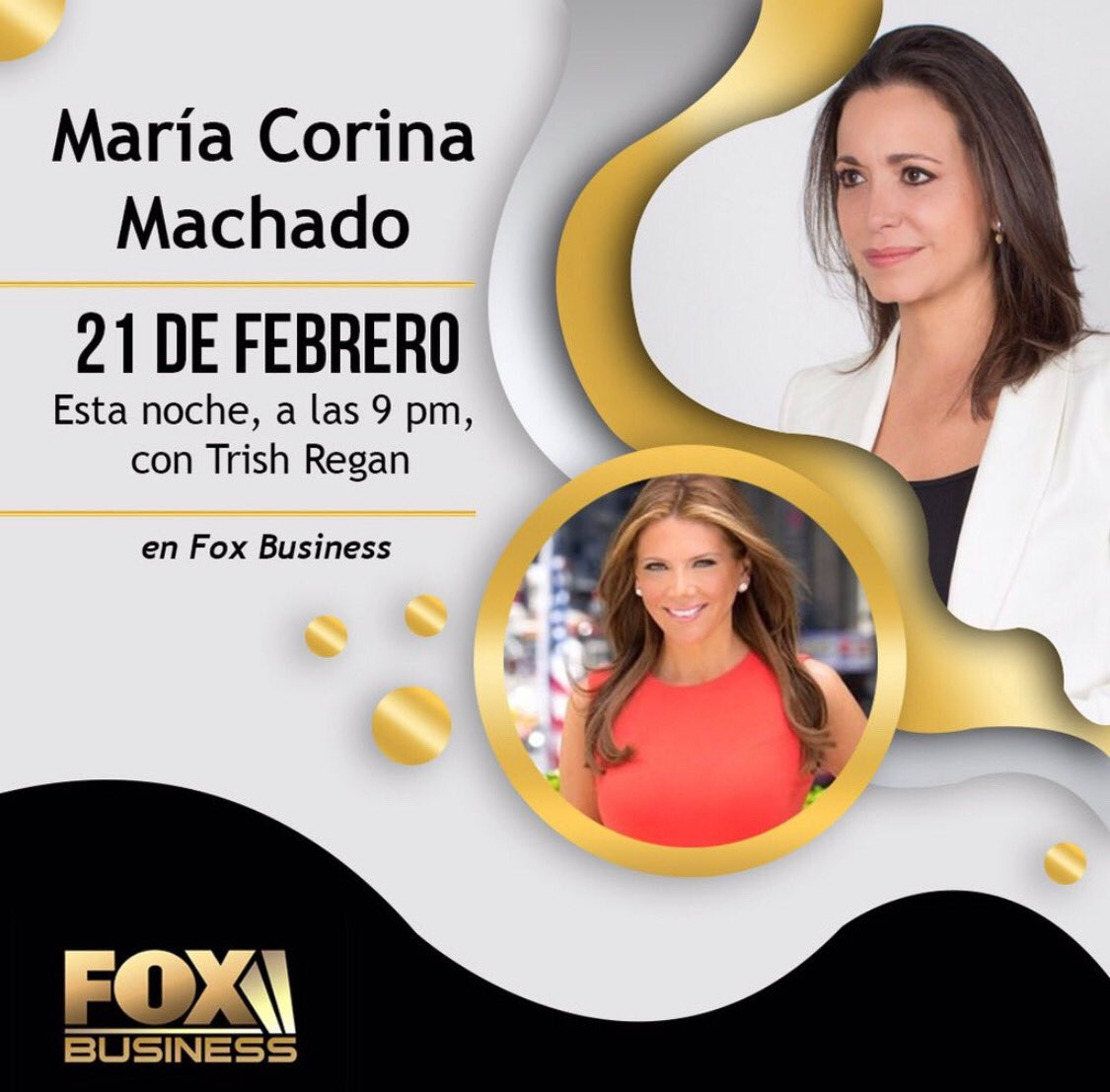 .@MariaCorinaYA is back with me tonight live from #Venezuela — hear how #Maduro is attempting to starve his people ...as well as new attempts to silence opposition leaders. TONIGHT 8pm #TrishRegan #FoxBusiness