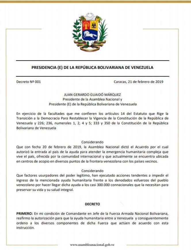 #21Feb Decreto presidencial para autorizar el ingreso de la ayuda humanitaria, apertura de toda nuestra frontera, mantenimiento de relaciones con Aruba, Curazao y Bonaire, además de garantías y reconocimiento para miembros de la #FANB que cumplan este mandado y la constitución.