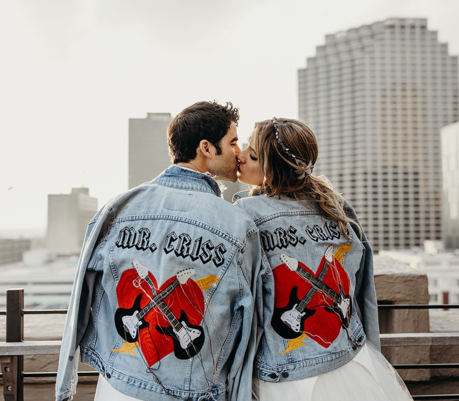 Congrats to Mr. & Mrs. Criss! Rocking their customized Truckers on their big day. ❤️🎸 📸 @voguemagazine