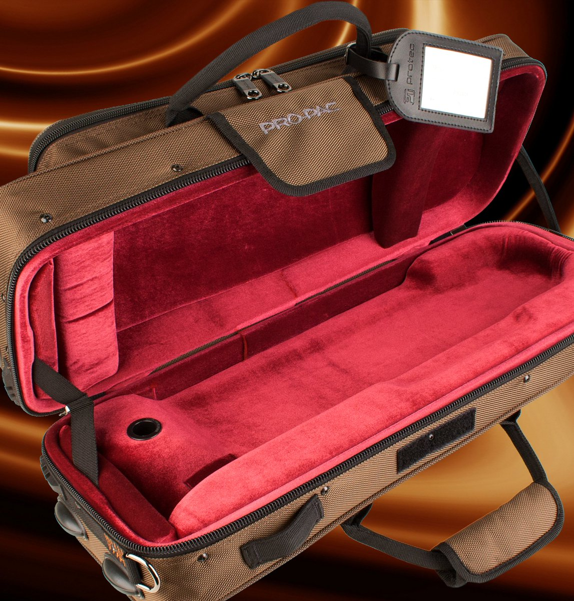 The #chocolate contoured #trumpet PRO PAC #case is back! #Beautiful #wine colored interior & #lightweight wood-shell protection! #protecstyle #PROPAC
