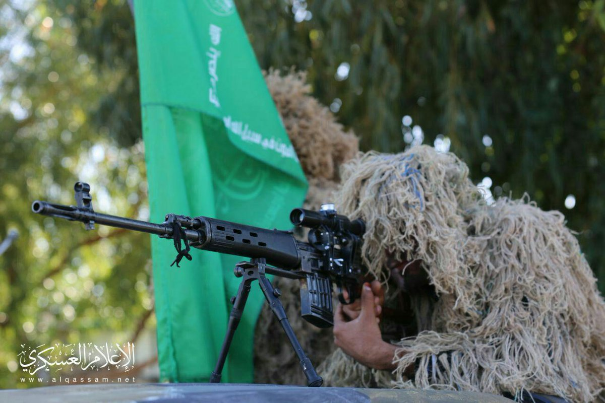 Recent Al Qassam Brigades sniper on the left. On the right, ISIS Sniper in December 2018.  Seems the SVD is rather popular.