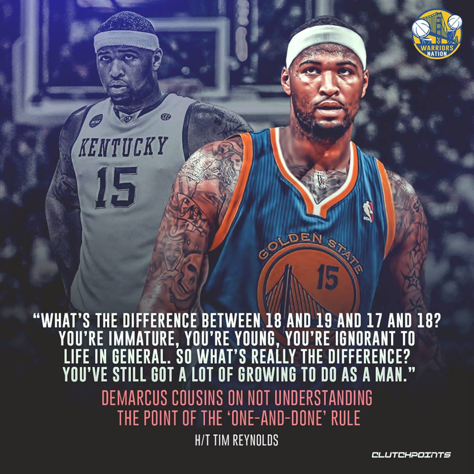 DeMarcus Cousins sees no reason for the one-and-done rule.  #Warriors #Dubnation