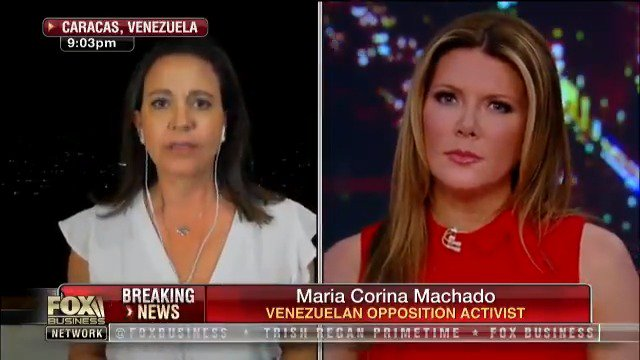 """.@MariaCorinaYA on #Venezuela: """"If [#Maduro] blocks the aid as you have mentioned, or he dares to attack innocent people wanting to bring aid to Venezuela, we will certainly advance to a higher level of the struggle."""" #TrishRegan"""