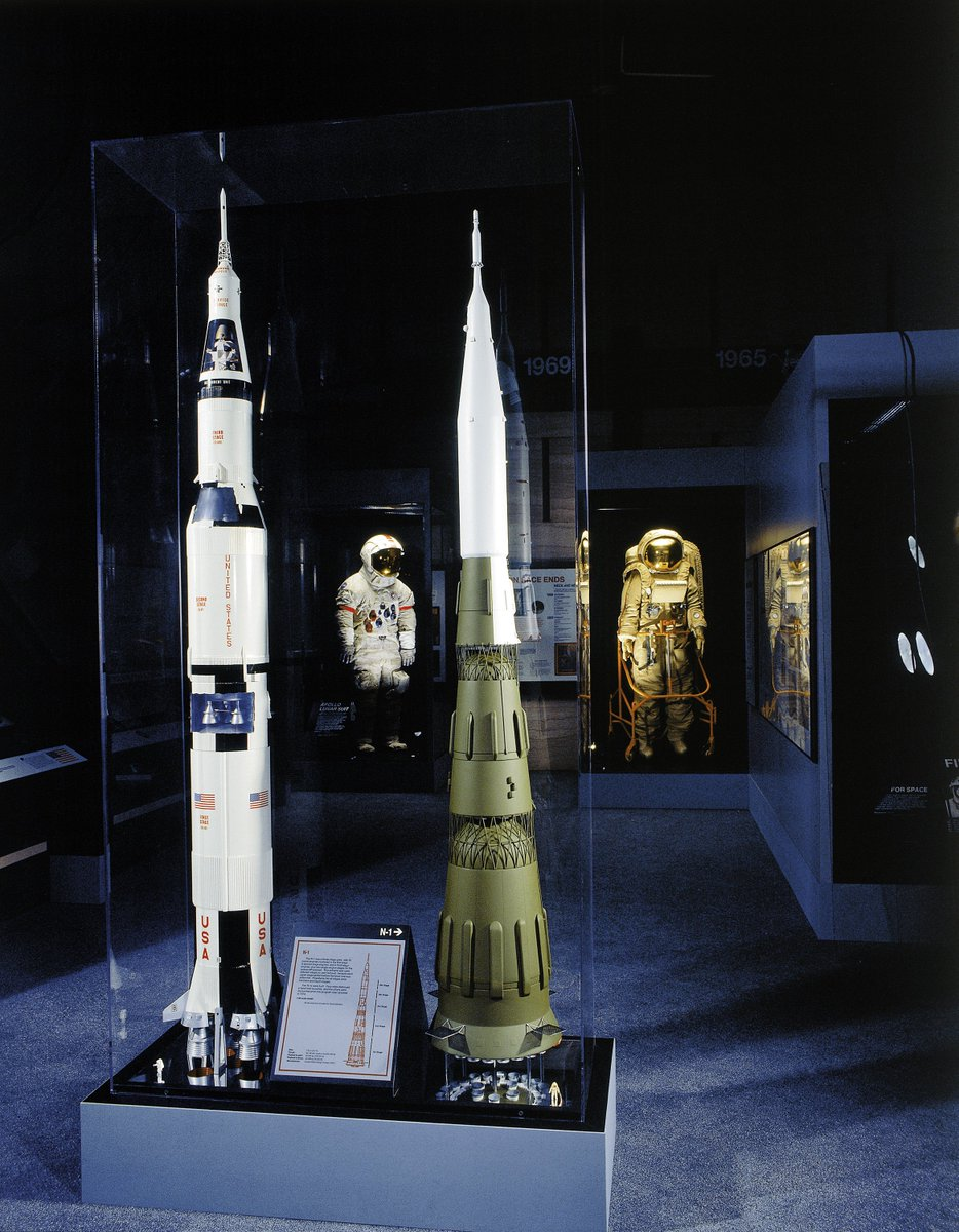 50 years ago today, the Soviet Union's giant N-1 rocket was launched on its first test flight. The test failed, as did the three that followed. A model of the N-1 rocket is on display next to a model of the Saturn V rocket in our Space Race gallery.  #Apollo50