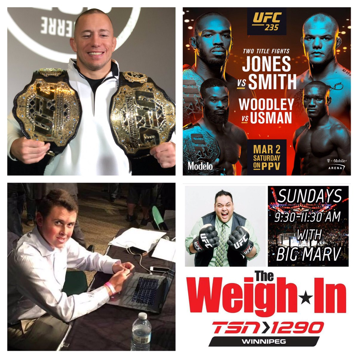 This Sunday on #TheWeighIn  -a look back at the career of @georgesstpierre -Recaps for #UFCPhoenix and #UFCPrague -Preview for #UFC235  @NickBaldwinMMA from  @bloodyelbow is back as the guest co-host this Sunday! 9:30am CT on @TSN1290Radio & #iHeartRadio  #UFC #MMA #radio